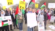 A crowd of people gather in front of the White House on Sunday to demand the right of return for Palestinians and protest the American Israel Public...