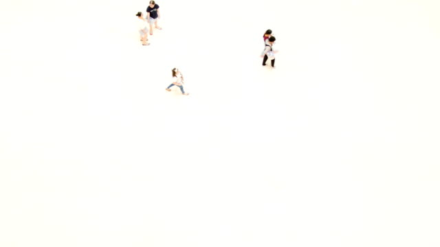 Crowd of people in top-view