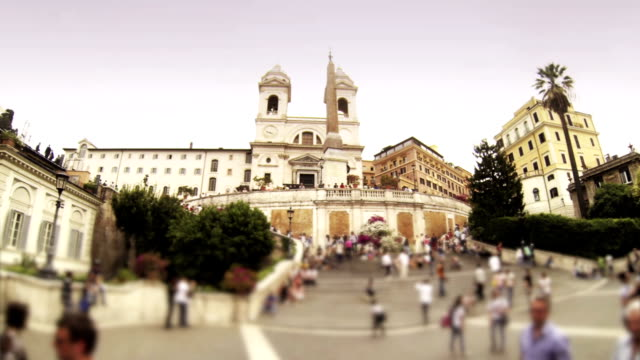Crowd of people on the Spanish Steps in Rome