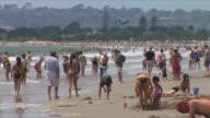 MS Crowd of people relaxing on beach, Coronado Beach, San Diego, California, USA