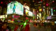 Menge von Menschen Time Square Schnee Glitzer tilt-Shift-Effekt