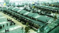 Crowd of travelers at airport terminal check-in area