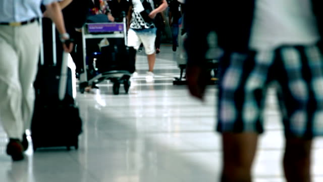 Crowd of Travelers at the Airport Terminal