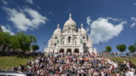 T/L, WS, LA, Crowd on steps leading to (No Suggestions) Basilica, Paris, France