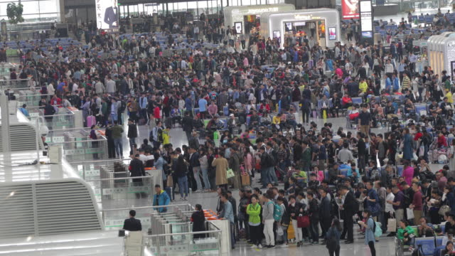 Crowd people in modern train station