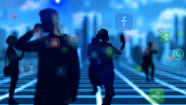 crowd people using smartphone social media