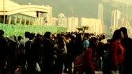 Crowd Tourist At Hong Kong Viewpoint