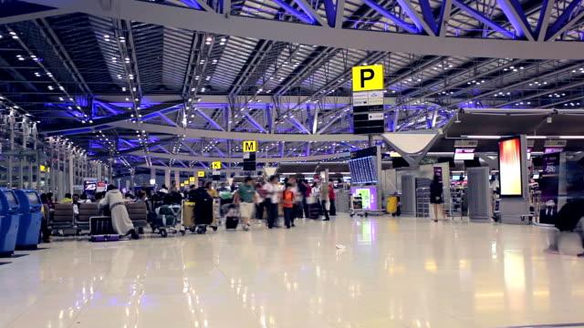 Crowd walking at international airport