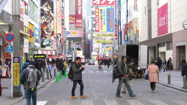 Crowd walking in Akihabara, Tokyo, Japan