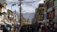 Crowded Central Commercial Street In Leh, Ladakh In The Evening