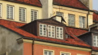 CU, ZO, Crowded houses behind barbican walls, Warsaw, Poland