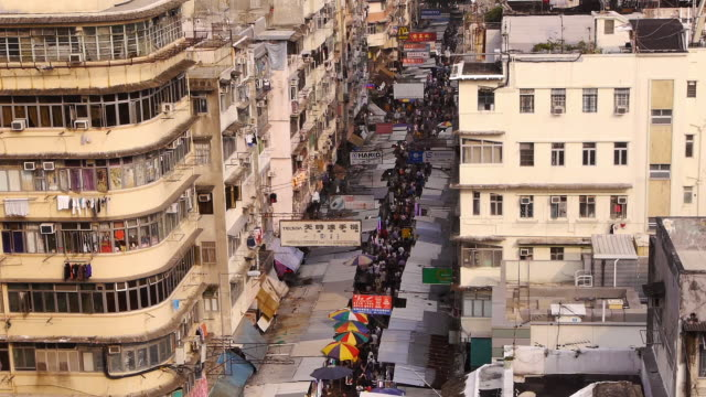 Crowded Narrow Shopping Street from above - Sham Shui Po - wide - day