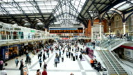 Crowded people train station, Liverpool street in London, time lapse
