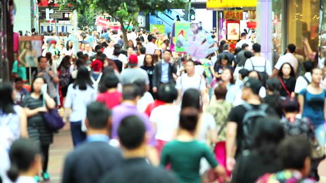 HD: Voll Menschen auf der Straße in Hongkong