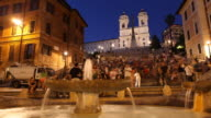 T/L WS Crowded Piazza di Spagna and Spanish Steps, dusk to night / Rome, Italy