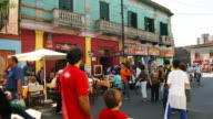 T/L, MS, Crowded street with outdoor cafe, La Boca, Buenos Aires, Argentina