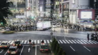 TL, MS Crowds and traffic on Hachiko Crossing, Shibuya, at night / Tokyo, Japan