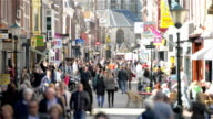Crowds at shopping street in Europe