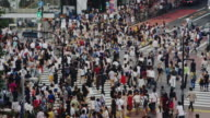 Crowds at the Famous Shibuya crossing on a Sunday Afternoon, Slow Motion