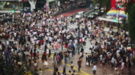 Crowds at the Famous Shibuya crossing on a Sunday Afternoon