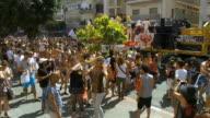 WS PAN Crowds celebrate and dance at gay pride in streets / Tel Aviv, Israel