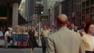 1955 MS crowds crossing 7th Avenue at 34th Street / TU Empire State Building / New York City