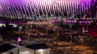 Crowds leave the London 2012 Olympic Stadium after the Men's 100m Final Timelapse Olympic Stadium Crowds at Olympic Park on August 03 2012 in London...