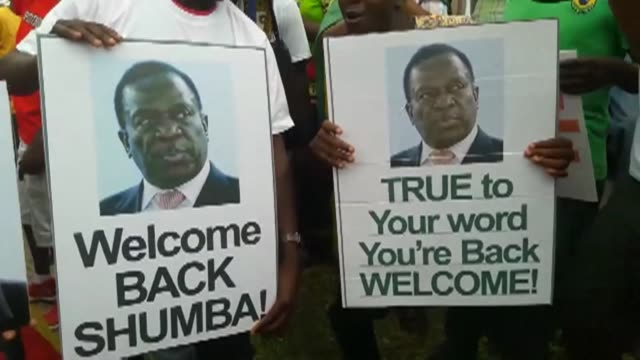 Crowds line the streets of Harare awaiting the return of former Zimbabwean Vice President Emmerson Mnangagwa who was set to make a triumphant return...