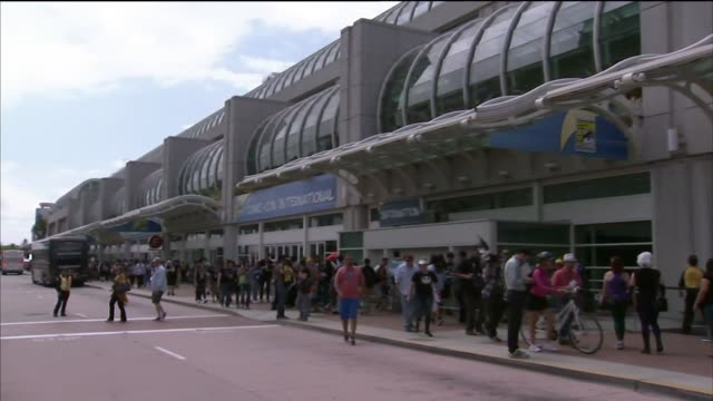 Crowds of attendees at Comic Con International in San Diego California US on July 9 2015 Shots of Wide shots and close ups of Comic Con International...