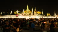Crowds of mourners at Sanam Luang, while the body of Thailand Bhumibol Palace