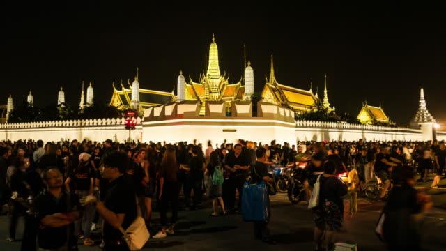 Massen von Trauernden am Sanam Luang, während der Körper von Thailand Bhumibol Palace