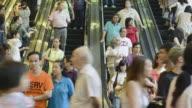 CU T/L ZO Crowds on escalator / Hong Kong, China