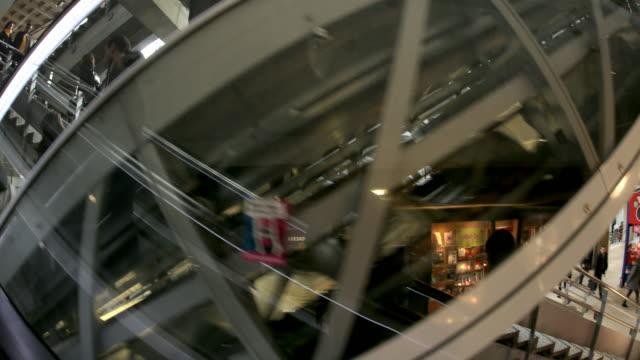 Crowds on escalators at Montparnasse Station