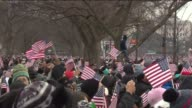 WGN Crowds React To Obama Coming On Stage At His Second Inaugural Address on January 21 2013 in Washington DC
