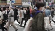 MS Crowds use a crossing or scramblewalk in Tokyo's Shibuya district / Tokyo, Japan