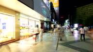 crowds,walking street,commercial buildings exterior in Chengdu,hyperlapse.