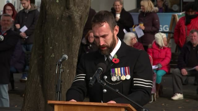 First anniversary ENGLAND Surrey Croydon New Addington EXT Sergeant Chris Morbey becoming emotional as speaks at ceremony to mark first anniversary...
