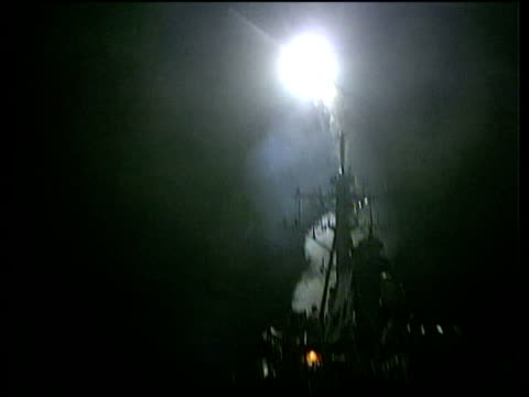 Cruise missiles being launched from ship Kosovo Situation 25 Mar 99