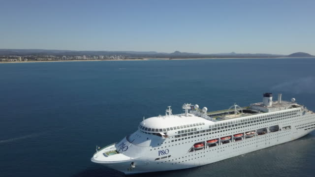 Cruise Ship is anchored off the coast near Mooloolaba on 1 August 2017 on the Sunshine Coast Queensland Australia