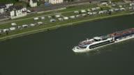 Cruise ship on Rhine River near St. Goarshausen, Rhineland-Palatinate, Germany