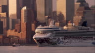 Cruise Ship Traveling Up the Hudson River