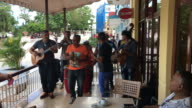 Traditional Cuban music played live at hotel and patio restaurant in the urban center of Las Tunas city Cuba