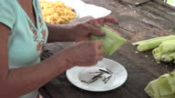 Cuban creole cuisine: cooking 'tamale' or 'tamales' from scratch in a real people house, Santa Clara,Cuba