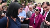 Cuban prima ballerina assoluta and director of Cuba's National Ballet Alicia Alonso receives an honorary degree from the rector of the University of...