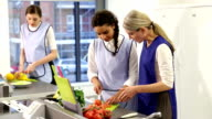 Culinary School Intructor Teaching Students in Commercial Kitchen