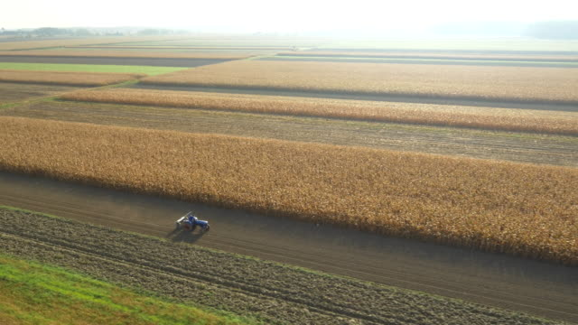 AERIAL Cultivating The Field With Tractor