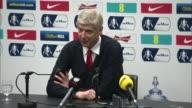 Arsenal beat Aston Villa 40 INT Arsene Wenger post match press conference SOT I'm very proud of that / if it has not been done it shows that it is...