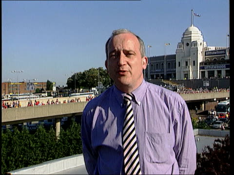 Arsenal v Newcastle ITN Front of stadium with signs 'Arsenal v Newcastle United' 'FA Cup Final 1998' Miller i/c
