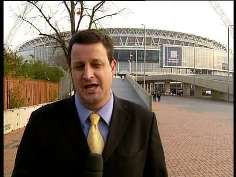FA Cup Final to return to Wembley Stadium in May 2007 ENGLAND London Wembley Stadium EXT Reporter to camera