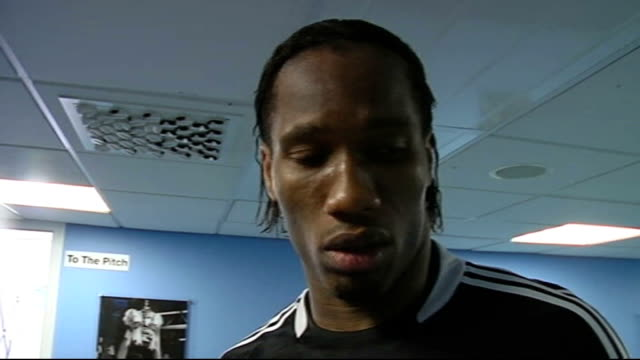 Sixth Round Coventry City v Chelsea INT Didier Drogba interview SOT Feels great to win game and to be in semifinals / FA Cup is important to Chelsea...